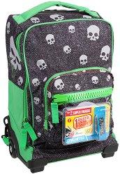 """Детски куфар-раница с колелца - Teschi - Комплект с ключодържател от серията """"Dr. Trolley"""" -"""