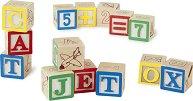 Дървени кубчета - Букви и цифри -