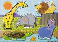 Диви животни - Детски дървен пъзел с едри елементи -