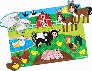 Животните от фермата - Дървен пъзел с едри елементи -