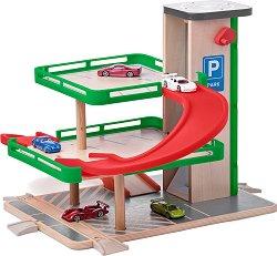 """Паркинг с асансьор - Дървен комплект с 5 колички """"Siku"""" -"""