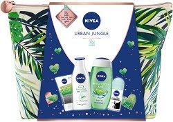Подаръчен комплект с несесер - Nivea Urban Jungle - Душ гел, лосион за тяло, дезодорант и измиващ гел за лице -