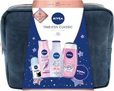 Подаръчен комплект с несесер - Nivea Timeless Classic - Душ гел, лосион за тяло, шампоан, универсален крем и дезодорант -