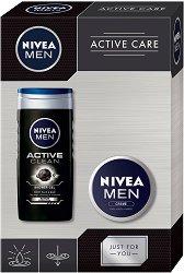 Подаръчен комплект за мъже - Nivea Men Active Care - Душ гел и универсален крем - четка