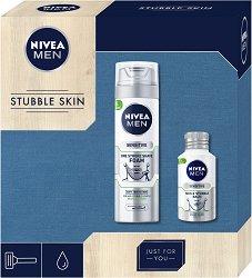 """Подаръчен комплект за мъже - Nivea Men Stubble Skin - Пяна за бръснене и балсам за след бръснене от серията """"Sensitive"""" - продукт"""