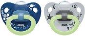 Флуоресцентни залъгалки от силикон с ортодонтична форма - Happy Nights - Комплект от 2 броя с кутия за съхранение за бебета от 0+ до 6 месеца -