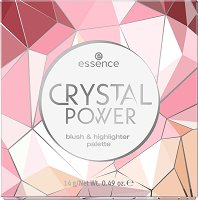 Essence Crystal Power Blush & Highlighter Palette - Палитра с хайлайтъри и руж за лице - сенки