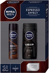 """Подаръчен комплект за мъже - Nivea Men Espresso Effect - Душ гел и дезодорант от серията """"Deep"""" -"""