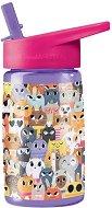 """Детска бутилка със сламка - Котки 450 ml - Детски аксесоар от серията """"Crocodile Creek"""" -"""