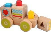 Локомотив - Детска образователна играчка за нанизване от дърво -