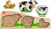 Домашни животни - Детски дървен пъзел с дръжки - пъзел