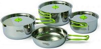 Туристически съдове за готвене - Pinguin Trio L - Комплект от 7 части и торбичка за съхранение