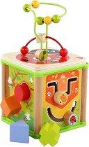 Дидактически дървен куб с лабиринт - Лято - Детска дървена образователна играчка -