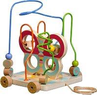 Лабиринт на колела - Пеперуда - Дървена образователна играчка за дърпане -