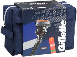 Подаръчен комплект за мъже - Gillette Fusion 5 ProGlide - Самобръсначка, резервни ножчета, гел за бръснене и несесер -