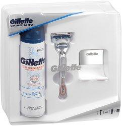 Подаръчен комплект за мъже - Gillette Skinguard - Самобръсначка, гел за бръснене и поставка - крем