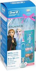 Oral-B Braun Vitality Kids Disney Frozen 2 + Travel Case Gift Set - Детска електрическа четка за зъби и кутия за пътуване - червило