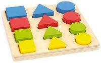 Геометрични форми - Детски дървен образователен комплект -