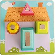 Моят дом - Детска дървена играчка за нанизване -