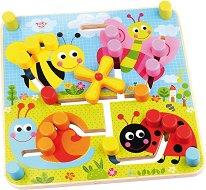 Двулицев лабиринт - Животни и геометрични форми - Детска образователна играчка от дърво -