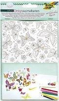 Декорирай сама картички и пликове - Пеперуди - Творчески комплект -