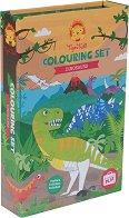 """Оцвети сам и декорирай - Динозаври - Творчески комплект със стикери от серията """"Tiger Tribe"""" - образователен комплект"""