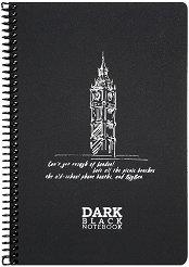 Ученическа тетрадка със спирала - Dark : Размери 17 x 24 cm без редове - 50 листа -