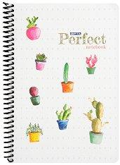Ученическа тетрадка със спирала - Perfect : Формат A5 с широки редове - 80 листа -