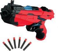 """Бластер с меки патрони - Детска играчка със светлинни ефекти от серията """"Red Guns"""" - творчески комплект"""
