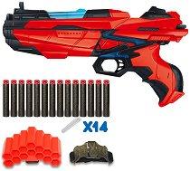 """Бластер с меки патрони и калъф - Детска играчка със светлинни ефекти от серията """"Red Guns"""" -"""