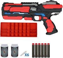 """Бластер с меки патрони, калъф и мишени - Детска играчка със светлинни ефекти от серията """"Red Guns"""" -"""