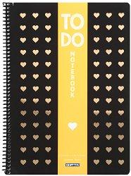 Ученическа тетрадка със спирала - To Do : Формат A4 с широки редове - 80 листа -