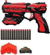 """Пистолет - Комплект с 14 меки патрона и 2 държача от серията """"Red Guns"""" - играчка"""