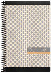 Ученическа тетрадка със спирала - Cotton : Размери 17 x 24 cm с широки редове - 80 листа -