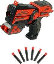 """Пистолет с вграден държач за патрони - Комплект с 6 меки патрона от серията """"Red Guns"""" -"""