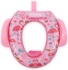 Детска седалка за тоалетна със закачалка - Фламинго -
