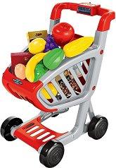 Количка за пазаруване със звуков и светлинен ефект - Детски комплект за игра с аксесоари - играчка