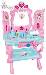 Тоалетка с козметични аксесоари - Детска играчка със звуков и светлинен ефект -