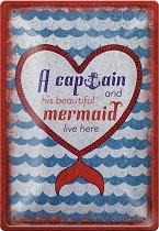 Метална табелка - Captain and Mermaid - С размери 20 x 30 cm
