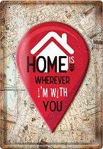 Метална табелка - Home - С размери 20 x 30 cm