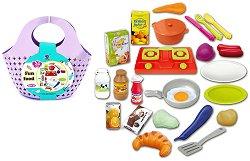 Детски комплект за готвене - С кошница за пазаруване -