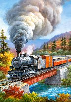 Влак с парен локомотив - пъзел