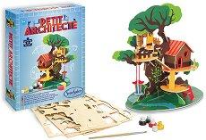 """Сглоби и оцвети къщичка на дървото - Творчески комплект от серията """"Малкият архитект"""" - играчка"""