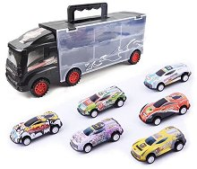 Камион - Автовоз - Комплект с 6 колички - играчка