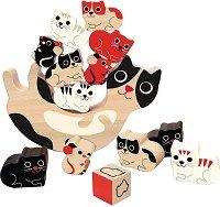 Котка с котенца и мишлета - Дървена игра за баланс -