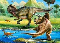 Тиранозавър срещу трицератопс - пъзел
