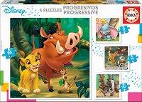 """Анимационни герои на Дисни - 4 пъзела от серията """"Progressive Puzzles"""" - пъзел"""