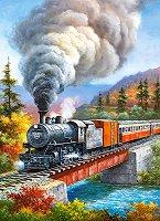 """Влак с парен локомотив - Пъзел от серията """"Castorland: Premium"""" : Сунг Ким (Sung Kim) -"""
