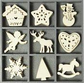 Дървени фигурки - Коледа - Комплект от 45 броя в кутия