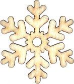 Дървени фигури - Снежинка - Комплект от 6 броя предмети за декориране